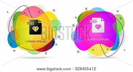 Color Ruby File Document. Download Ruby Button Icon Isolated On White Background. Ruby File Symbol.