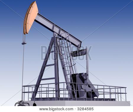 Illustration of an oil rig on a clear day poster