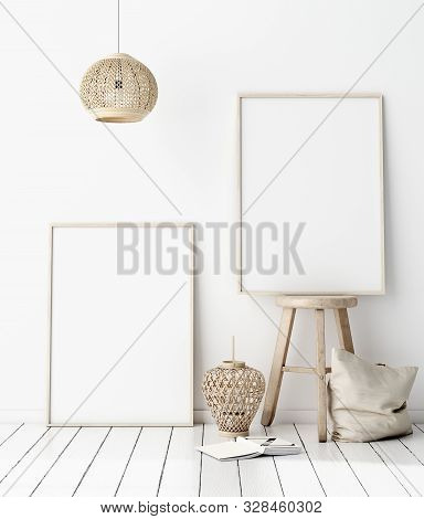 Mock-up Poster Frame In Decorated Room, Scandinavian Style, 3d Illustration