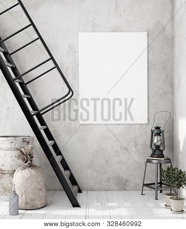 Mock-up Poster Frame In Decorated Room Interior, Scandinavian Style, 3d Illustration