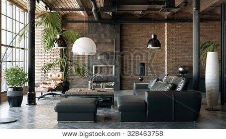 Living Room Loft In Industrial Style ,3d Illustration