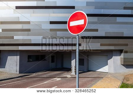 Halt Road Sign Before Underground Parking Space For Vehicles With Automatic Service System. Photo Wi