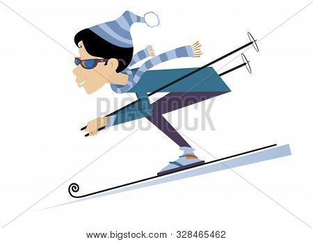 Cartoon Downhill Skier Woman Illustration. Woman Downhill Skier Isolated On White