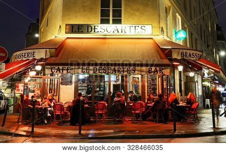 Le Descartes Is Famous Traditional French Caf Located Near Pantheon In Paris, France.