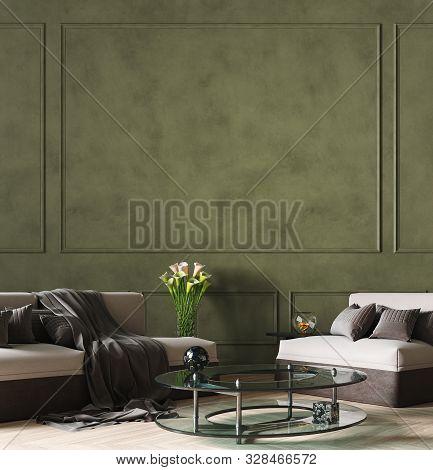 Dark Green Modern Living Room Interior Background, 3d Illustration