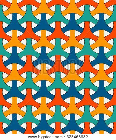 Seamless Pattern With Traditional Japanese Ornament. Three Pronged Blocks Tessellation. Repeated Int