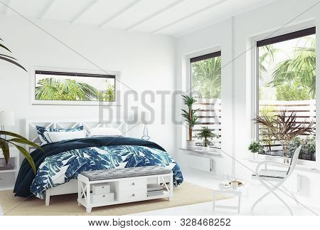 White Tropical Bedroom Interior, Coastal Style, 3d Illustration