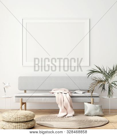 Interior Wall, Poster Mock Up, Scandinavian Style, 3d Illustration