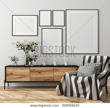 Mock Up Poster Frame In Home Interior, Scandinavian Style, 3d Illustration