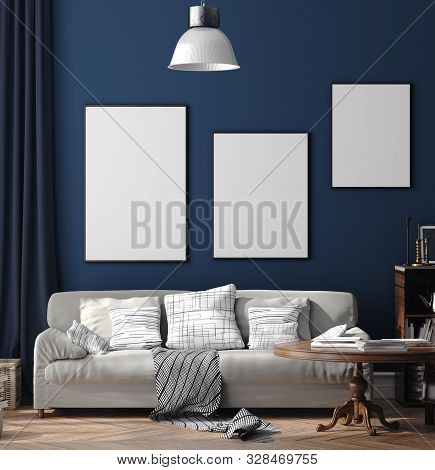 Dark Blue Scandinavian Home Interior With Retro Furniture, Poster Wall Mock-up In Living Room, 3d Il