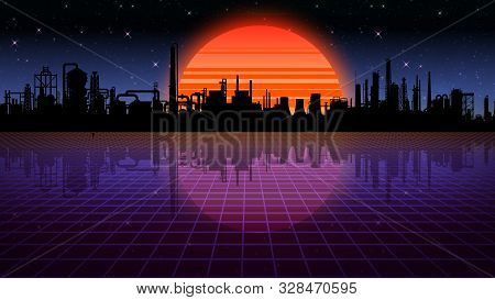 3d Rendering Retro Futuristic Background. Virtual Space On A Background Of A Star And An Industrial