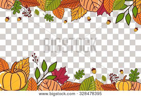 Autumn Landscape. Autumn Background With Dry Leaf Decoration, Autumn Theme Vector Illustration Desig