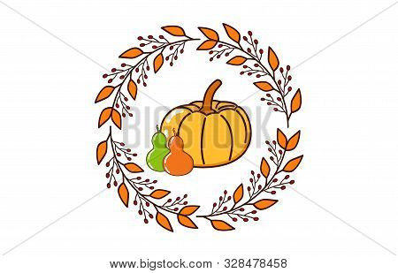 Autumn Background With Circular Frame. Autumn Frame Background With Dried Leaf Decorations. Autumn D