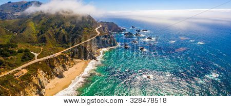 Arial View Of The California Bixby Bridge In Big Sur In The Monterey County Along Side State Route 1