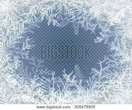 Frost Glass Pattern. Winter Frame On Transparent Background. Vector Christmas Illustration