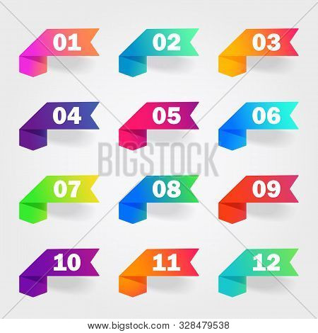 Bullet Marker Icon With Number 1, 3, 4, 5, 7, 9, 10, 12 For Infographic, Presentation. Set Of Graphi