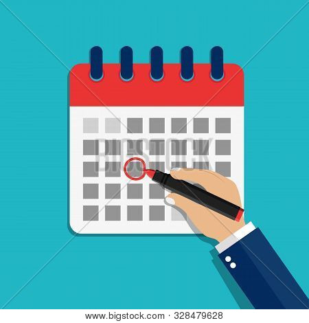 Calendar Date Circled Of Hand Man. Circled Appointment Of Calendar Date Of Marker. Cartoon Check Eve
