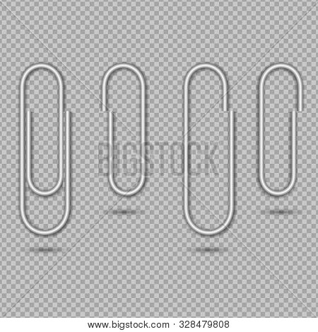 Paper Clip For Attach Note, Office Memo, Post. Metal Paperclip Isolated On Transparent Background. S