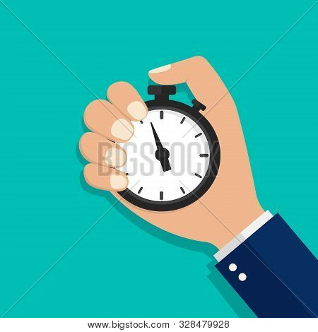 Stopwatch, Watch Or Timer In Hand. Stop Time On Competition. Businessman Time Control Concept. Carto