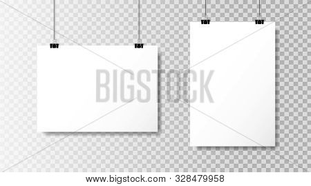 Realistic White Blank Paper Format A4 In Mockup Style.empty Blank Paper Sheets Hanging On Binder Cli