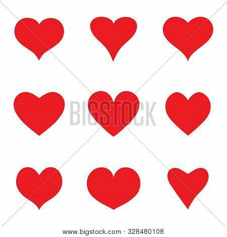 Heart Sketch Icons Set. Cartoon Doodle Red Shape Of Heart. Collection Of Flat Hearts For Greeting Pa