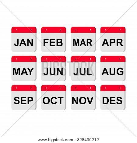Calendar Icon Set / Months /. Modern Vector Calendar Icon Set With Months And Shadow. Calendar Backg