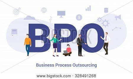 Bpo Business Process Outsourcing Concept With Big Word Or Text And Team People With Modern Flat Styl