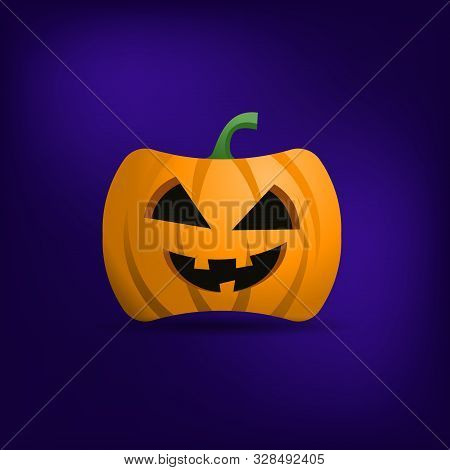 Halloween Orange Pumpkin Head Isolated On Blue Background. Halloween Celebration Symbol. Thanksgivin
