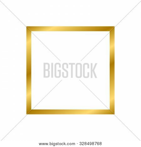 Gold Shiny Glowing Vintage Square Frame With Shadows Isolated On White Background. Gold Realistic Sq