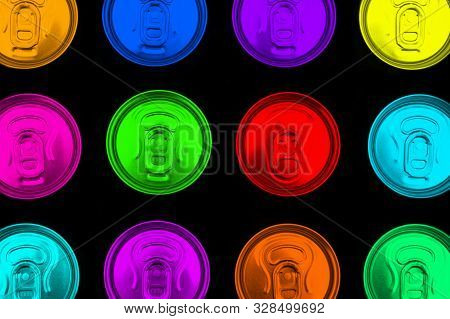 Close Up Photo Of Multicolored Aluminium Cans In A Raw. Colour Aluminium Can Background. Can Pattern