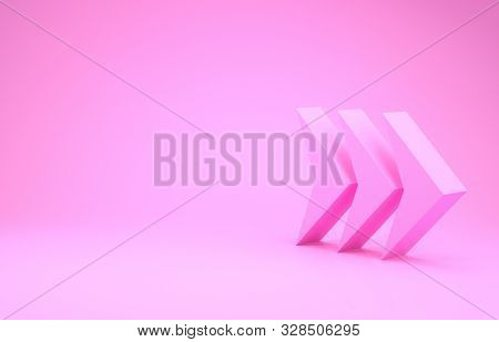 Pink Arrow Icon Isolated On Pink Background. Direction Arrowhead Symbol. Navigation Pointer Sign. Mi