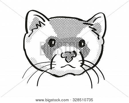 Retro Cartoon Mono Line Style Drawing Of Head Of A Black-footed Ferret, American Polecat Or Prairie