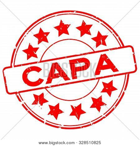 Grunge Red Capa (abbreviation Of Corrective Action And Preventive Action) Word With Star Icon Round