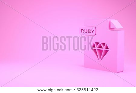 Pink Ruby File Document. Download Ruby Button Icon Isolated On Pink Background. Ruby File Symbol. Mi