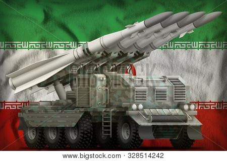 Tactical Short Range Ballistic Missile With Arctic Camouflage On The Iran Flag Background. 3d Illust