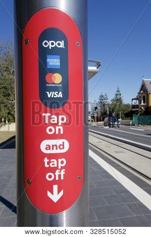 Newcastle, Nsw, Australia-october 19, 2019:  An Opal Card Machine To Register Passengers As They Com