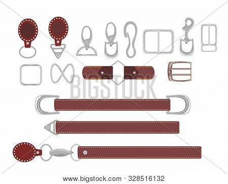 Leather Belts With Carabiner Clasp Collection Vector. Hook Accessory Illustration. Buckles.