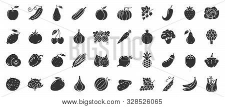 Fruit, Berry, Vegetable Glyph Icons Set. Food Symbol, Simple Shape Pictogram Collection. Vegetarian