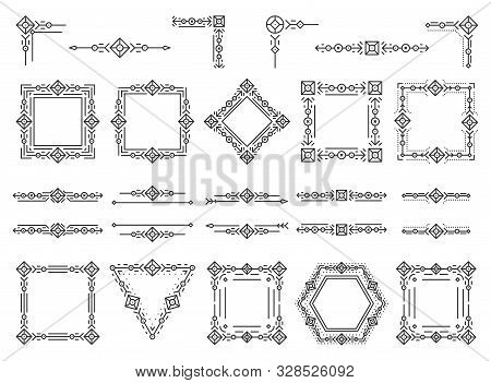 Art Deco Text Frame, Monogram, Divider, Corner Set. Fancy Elegant Wedding Decor. Style Ornament, Geo