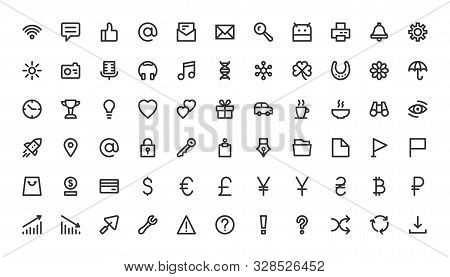 Web And App Line Icons Set. Outline Simple Site Interface Sign Collection. Linear Website, Arrow, Ph