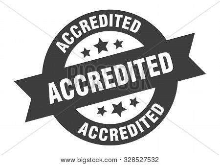 Accredited Sign. Accredited Black Round Ribbon Sticker