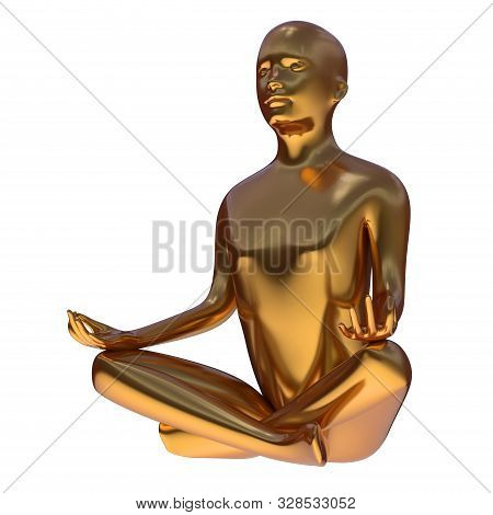 Gold Yoga Lotus Position Iron Man Stylized Figure Side-view. Human Mental Recreation Character Metal