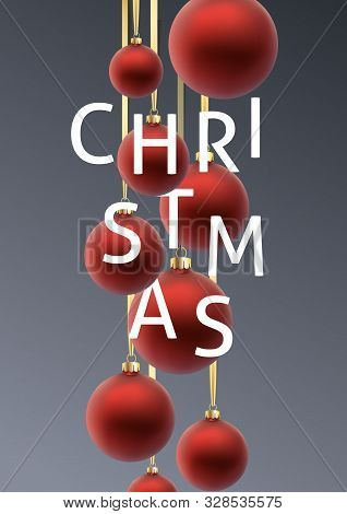 Christmas Greeting Card. Red Christmas Ball, With An Ornament And Spangles.hand Drawn Lettering. Vec