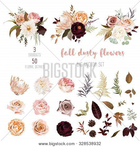 Dusty Orange And Creamy Antique Rose, Beige And Pale Flowers, Fern, Creamy Dahlia, Ranunculus, Prote