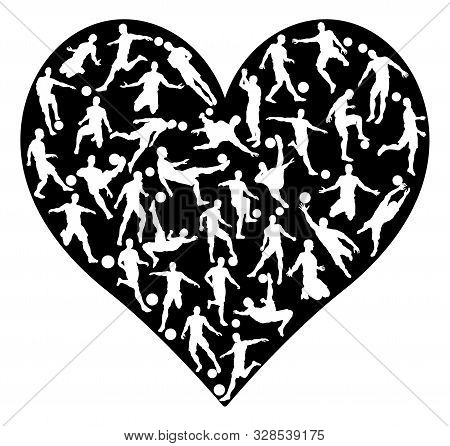 Soccer Football Player Silhouettes Heart Concept Of Soccer Player Silhouettes Arranged In A Heart Sh