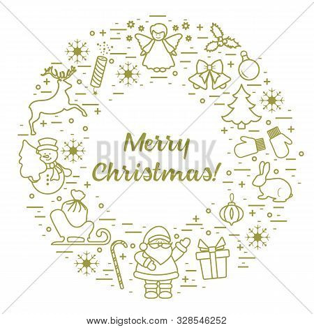 Merry Christmas Vector Illustration. Happy New Year 2020. Santa Claus, Gift, Candy Cane, Rabbit, Mit