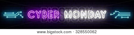 Cyber Monday Neon Long Signboard. Vector Bright Design With Circuit Board Pattern And Inscription Cy