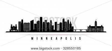 Minneapolis Skyline Horizontal Banner. Black And White Silhouette Of Minneapolis, Minnesota. Vector