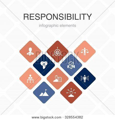 Responsibility Infographic 10 Option Color Design.delegation, Honesty, Reliability, Trust Practice S