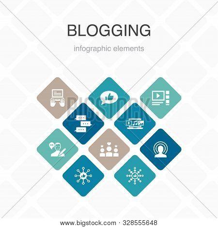 Blogging Infographic 10 Option Color Design.social Media, Comments, Blogger, Digital Content Simple